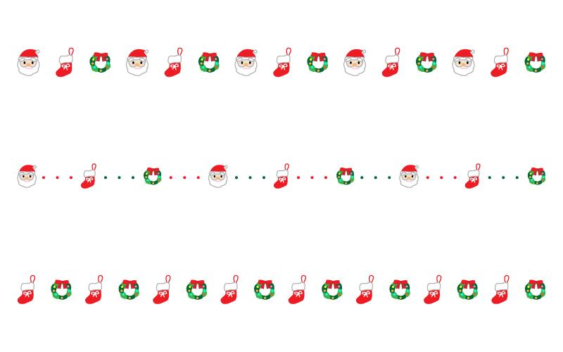 サンタやクリスマスリースの罫線イラスト