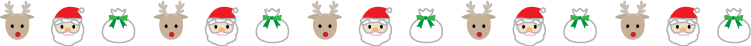 サンタやトナカイのクリスマスの罫線イラスト