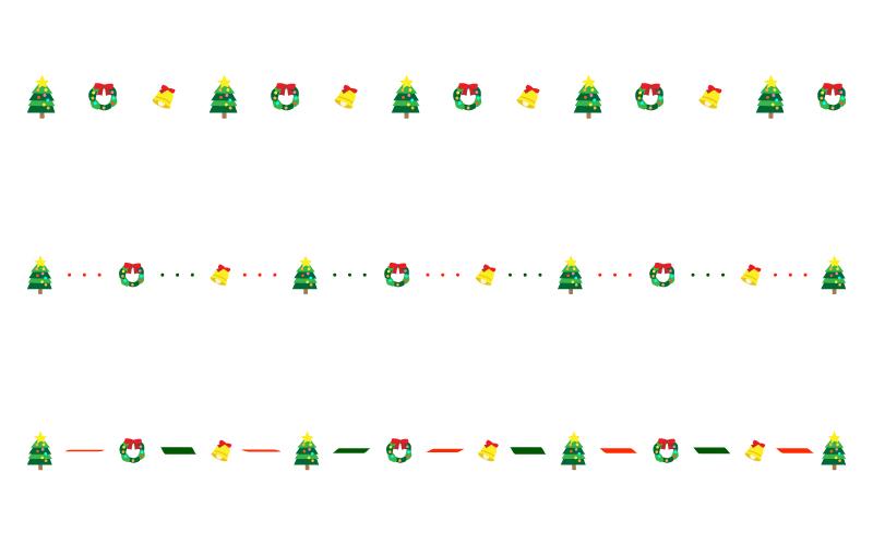 ツリーやベルなどのクリスマスの罫線イラスト