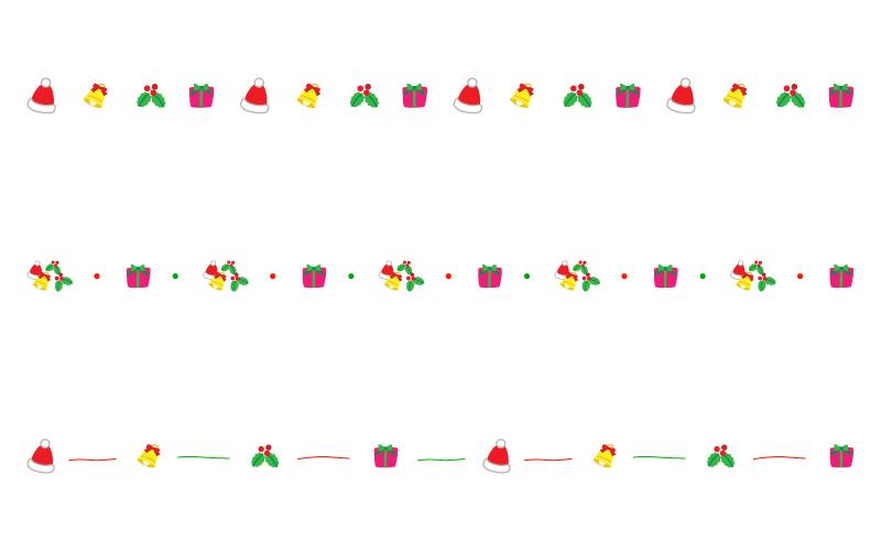プレゼントやベルなどのクリスマスの罫線イラスト