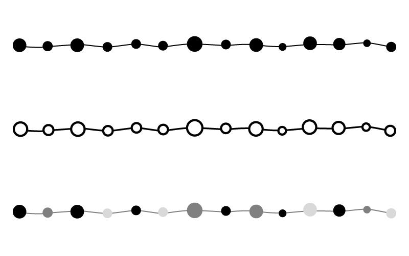 白黒・モノトーンの丸と手書き線の罫線イラスト