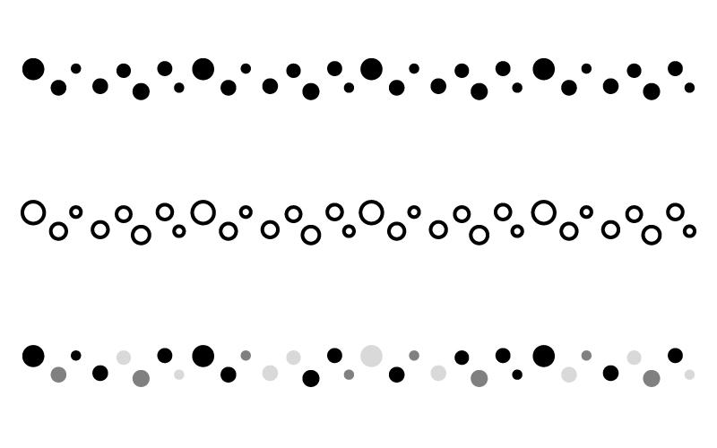 白黒モノトーンの水玉の罫線イラスト 無料の線ライン素材 飾り罫線
