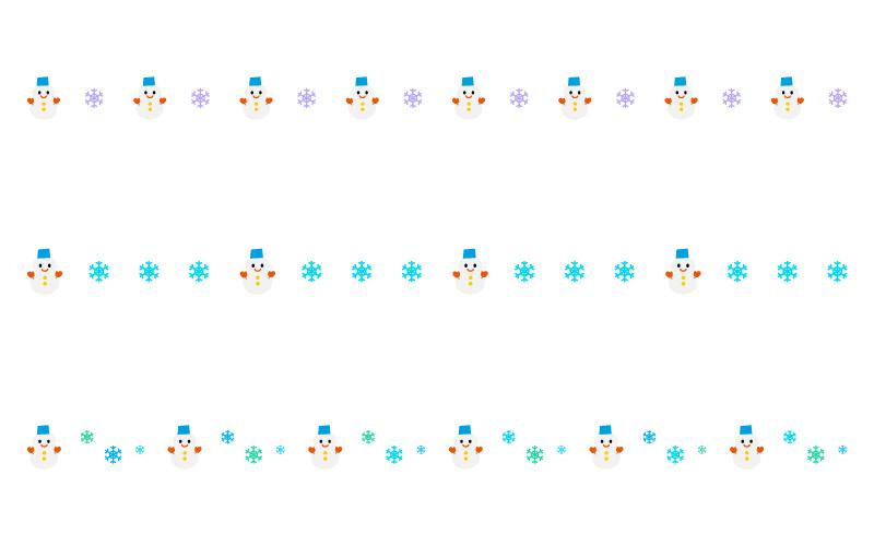 雪の結晶と雪だるまの罫線イラスト