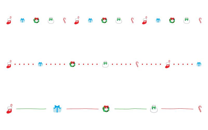 プレゼントなどのクリスマスの罫線イラスト
