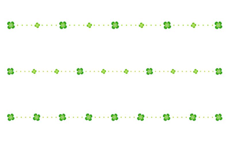 四つ葉のクローバーと点線の罫線イラスト
