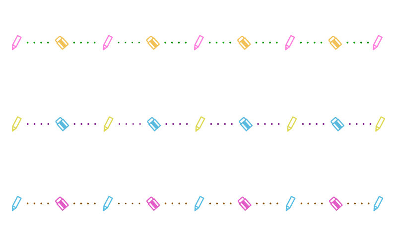 鉛筆と消しゴムと点線の罫線イラスト