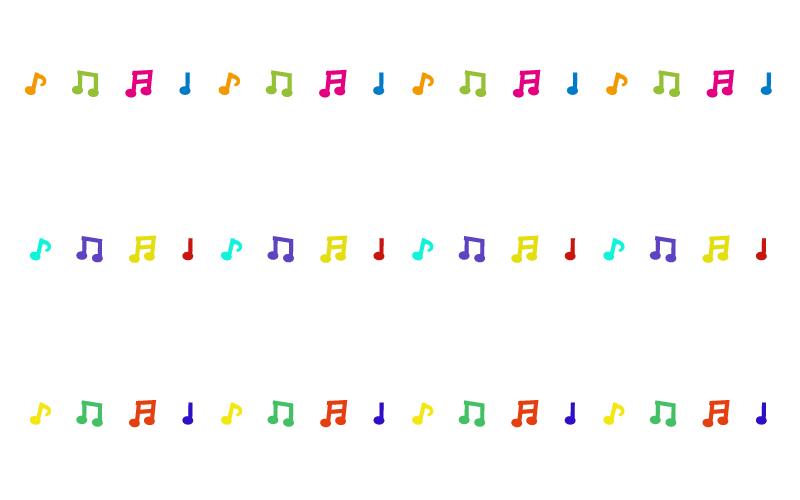 カラフルな音符の罫線イラスト 無料の線ライン素材 飾り罫線イラストcom