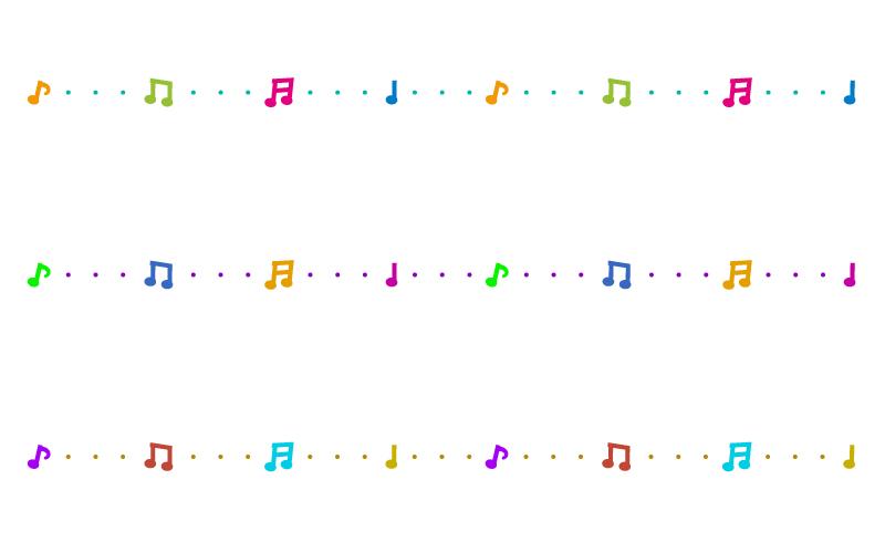 カラフルな音符の罫線イラスト02 無料の線ライン素材 飾り罫線