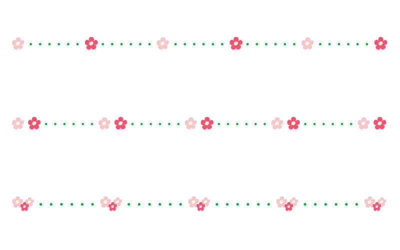 かわいい小花と点線の罫線イラスト