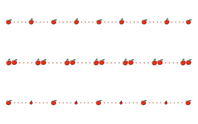りんごと点線の罫線イラスト