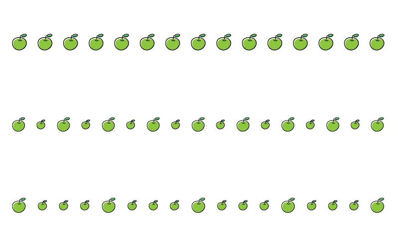 青りんごの罫線イラスト