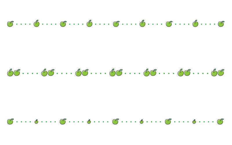 青りんごと点線の罫線イラスト