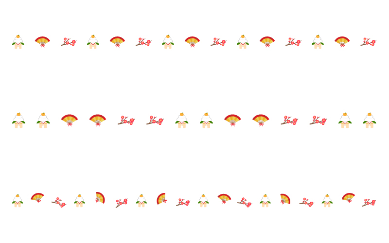 鏡餅と扇子と梅のお正月の罫線イラスト