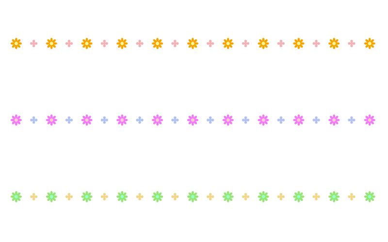 かわいい小花の罫線イラスト04