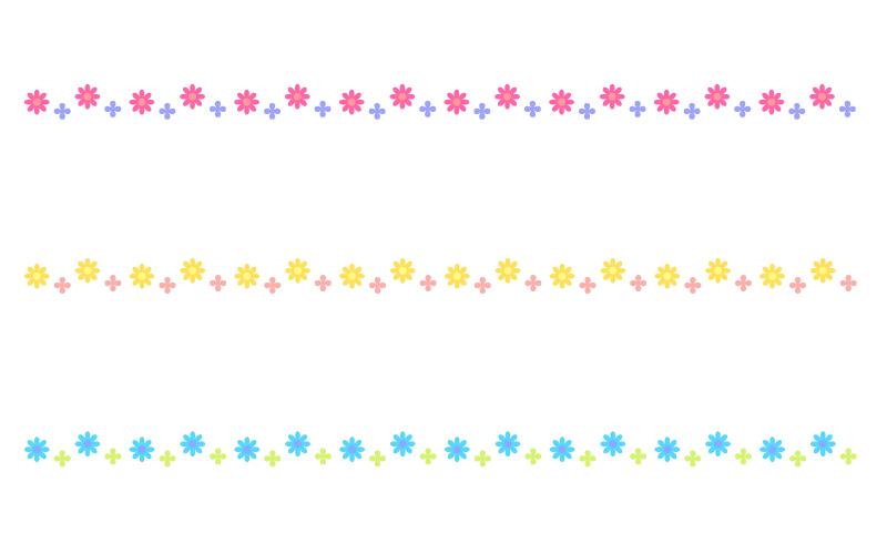 かわいい小花の罫線イラスト05