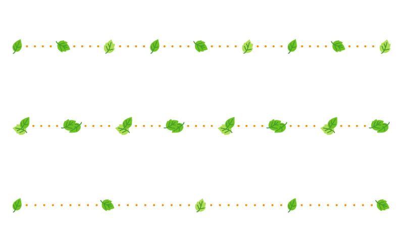 葉っぱと点線の罫線イラスト
