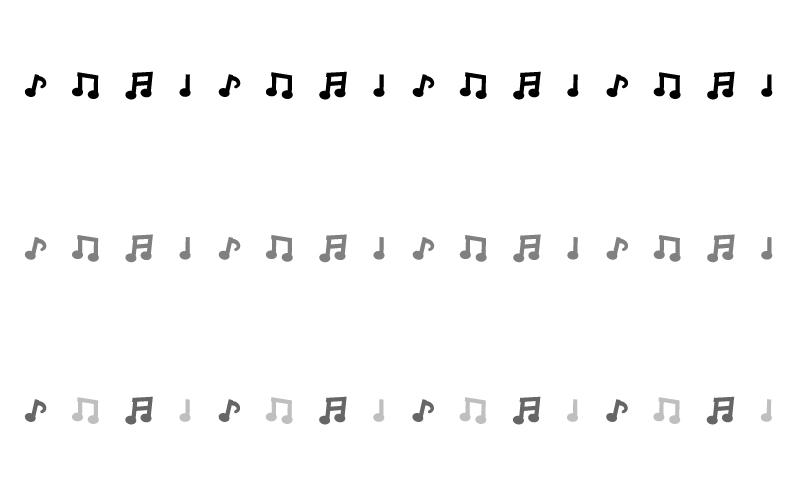 モノトーンの音符の罫線イラスト 無料の線ライン素材 飾り罫線