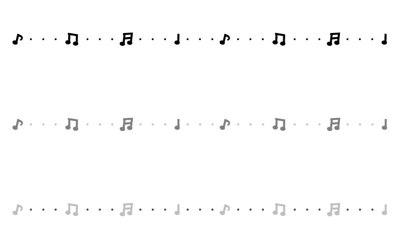 モノトーンの音符の罫線イラスト02