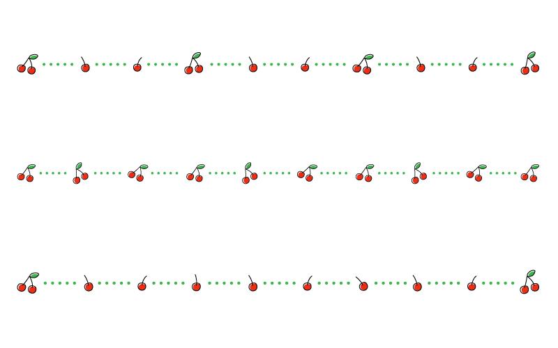 さくらんぼ・チェリーと点線の罫線イラスト