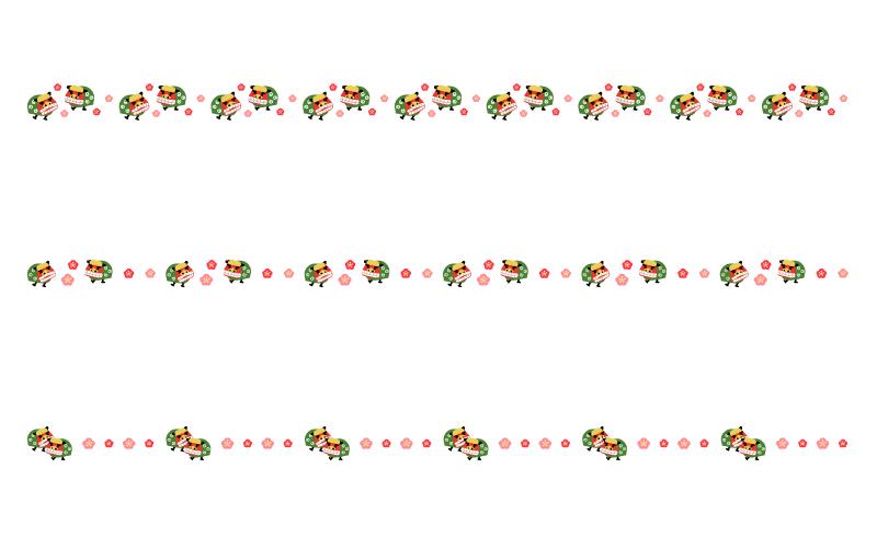 獅子舞のお正月の罫線イラスト