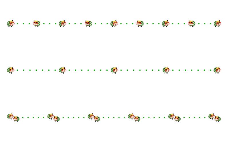 獅子舞と点線のお正月の罫線イラスト