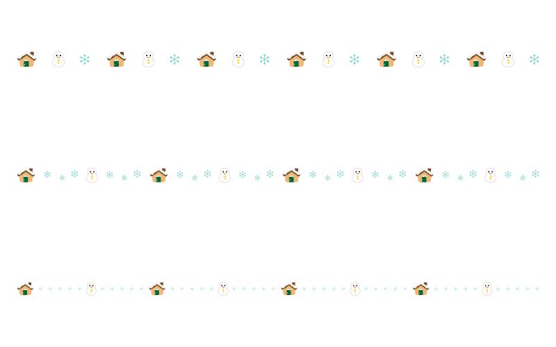 雪だるまとお家の罫線イラスト02