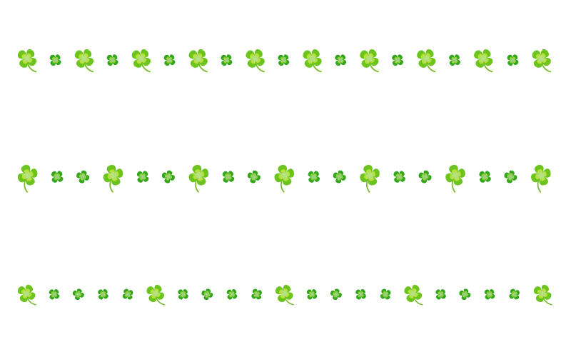 四つ葉のクローバーの罫線イラスト