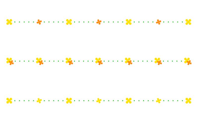 かわいい小花と点線の罫線イラスト02
