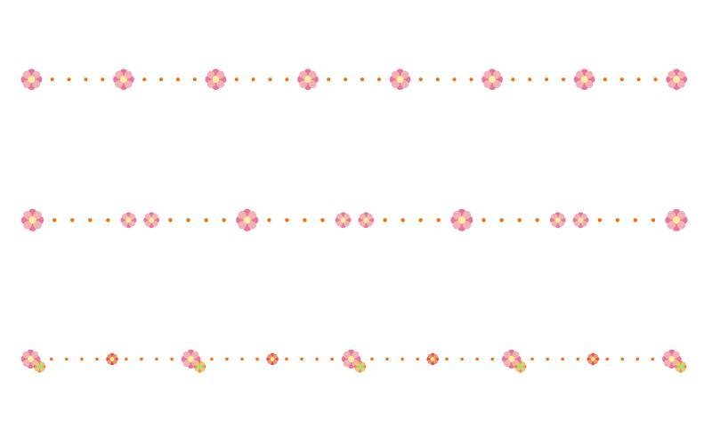 かわいい小花と点線の罫線イラスト03