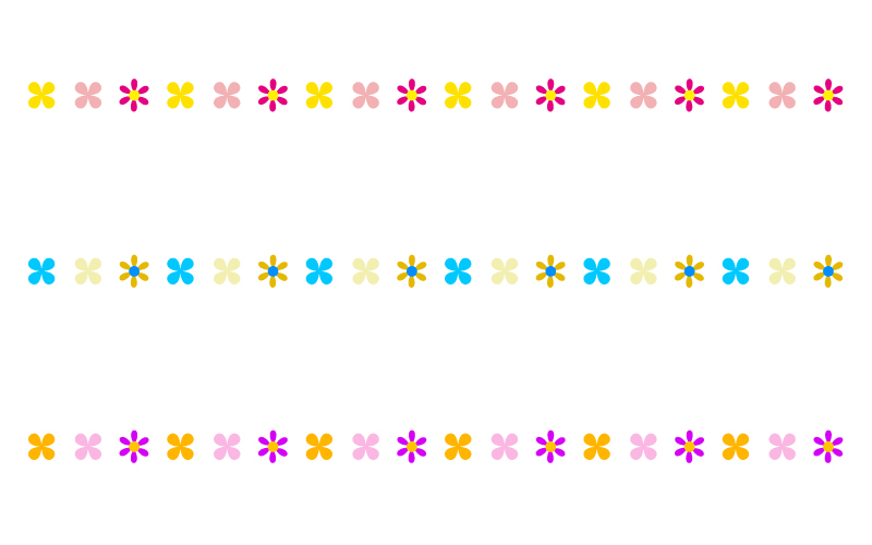 かわいい小花の罫線イラスト06