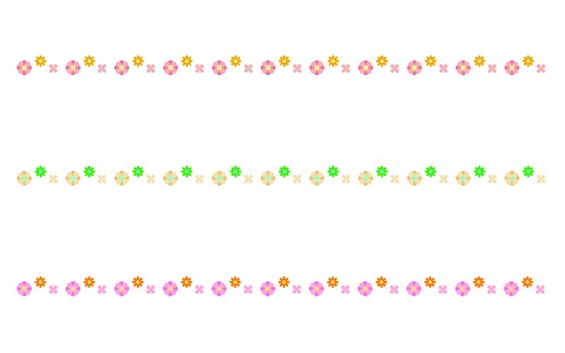 かわいい小花の罫線イラスト07