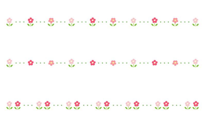 小花と点線の罫線イラスト