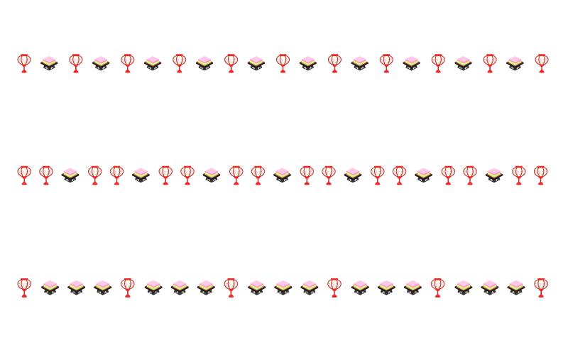 ぼんぼりと菱餅のひな祭りの罫線イラスト 無料の線ライン素材 飾り