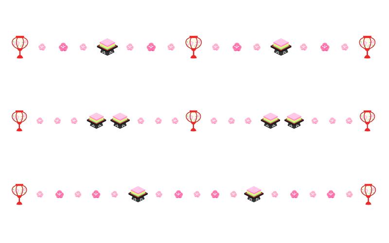 ぼんぼりと菱餅のひな祭りの罫線イラスト02