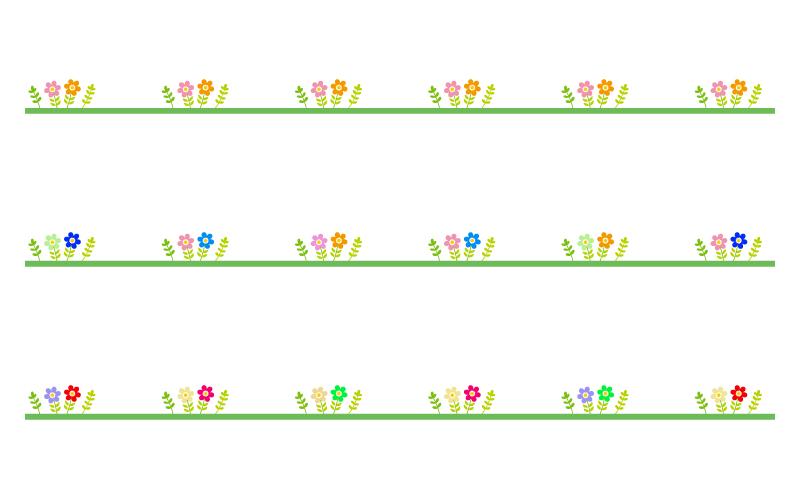 カラフルな小花の罫線イラスト02