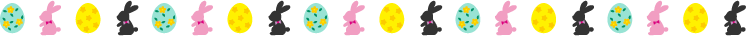 イースターエッグとラビットの罫線イラスト03