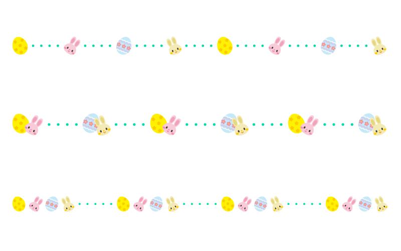イースターエッグとラビットの点線の罫線イラスト