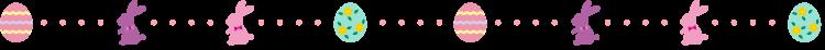 イースターエッグとラビットの点線の罫線イラスト02