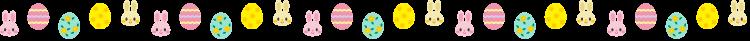 イースターエッグとラビットの罫線イラスト02