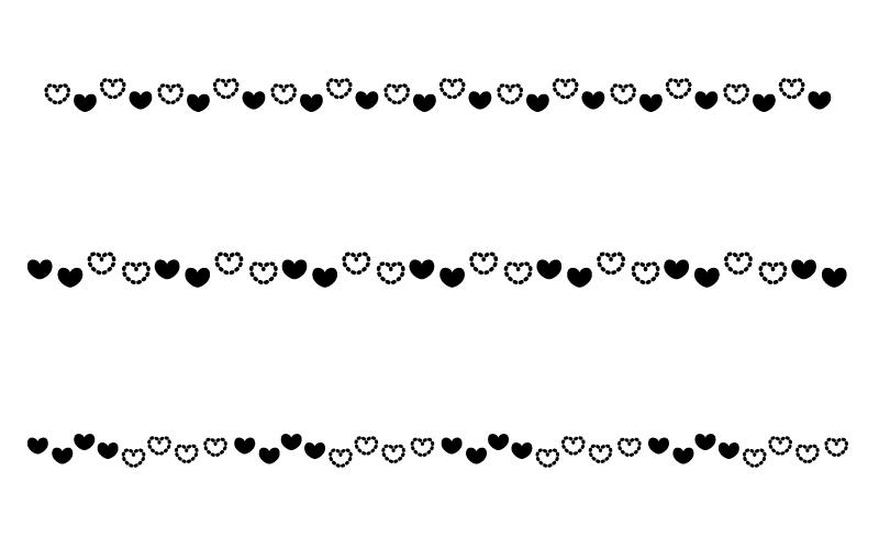 白黒のハートの罫線イラスト02