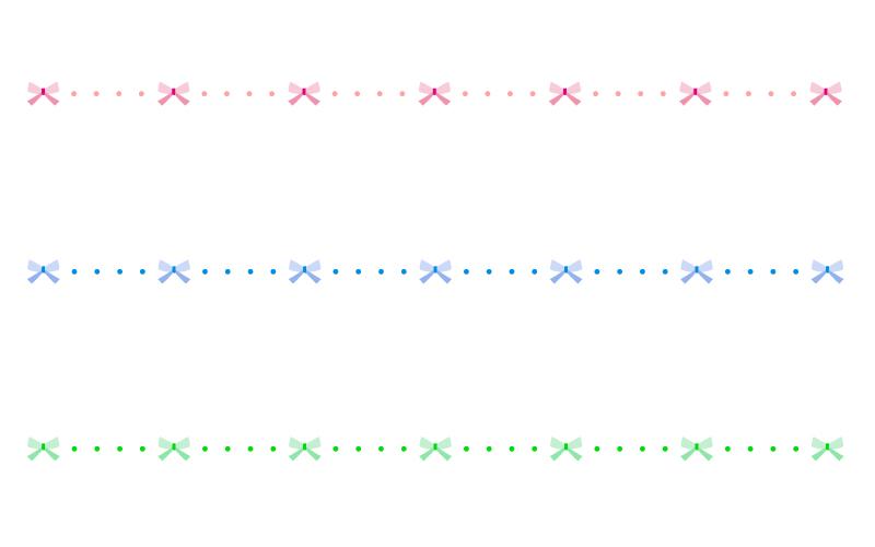 リボンと点線の罫線イラスト