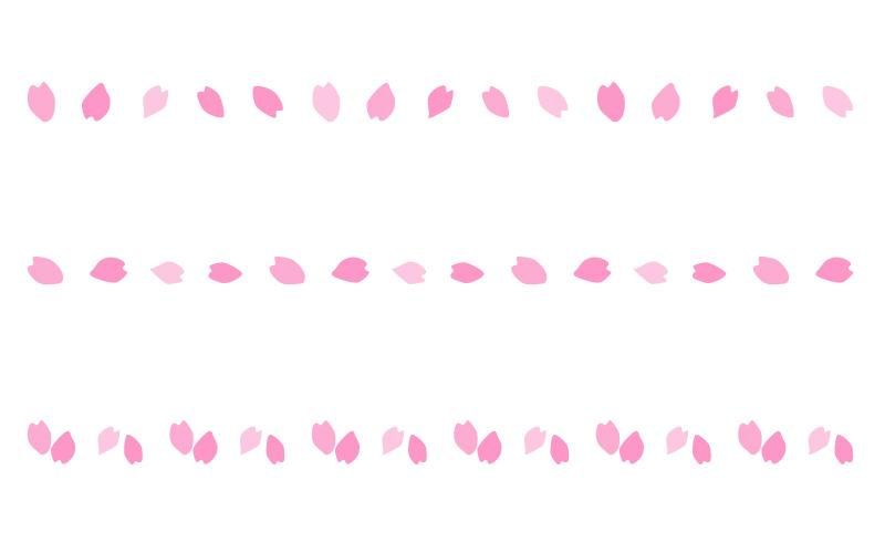 桜の花びらの罫線イラスト