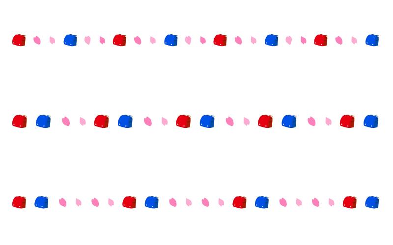 ランドセルと桜の入学の罫線イラスト02