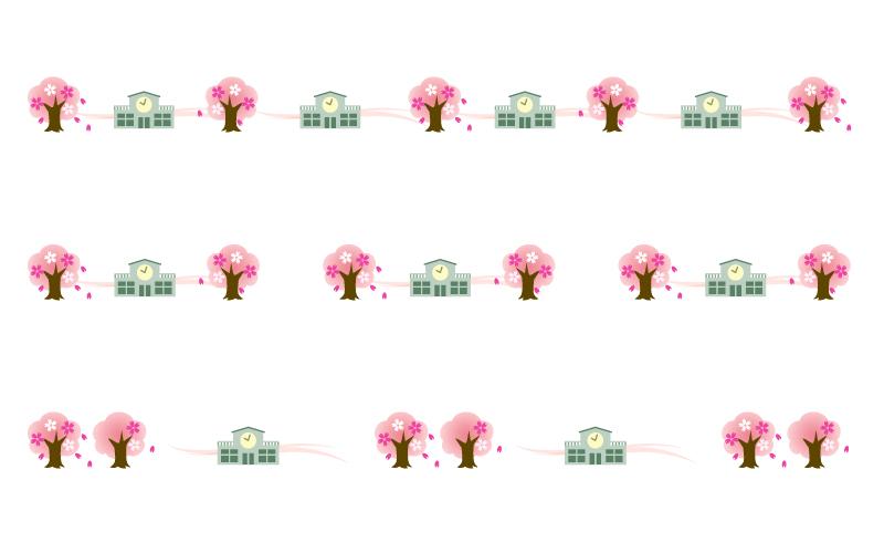 学校と桜の卒業・入学の罫線イラスト