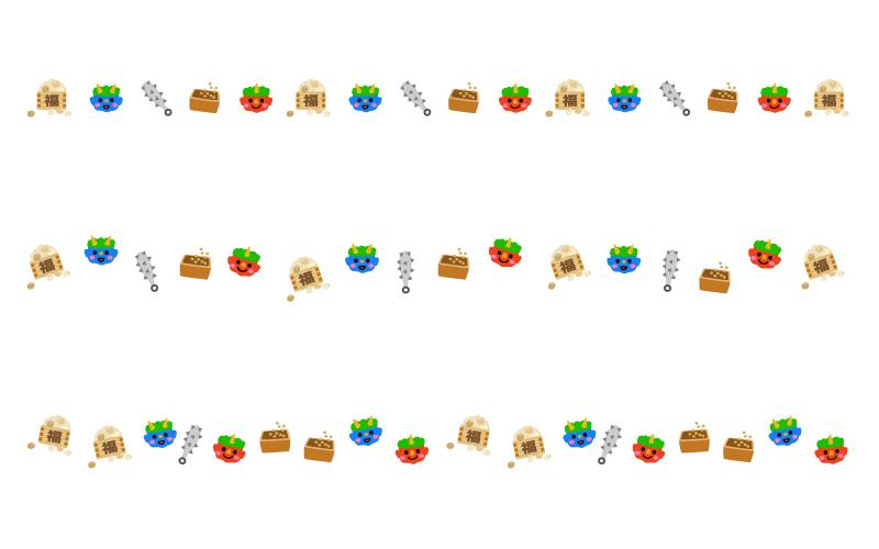 豆と鬼の節分の罫線イラスト03