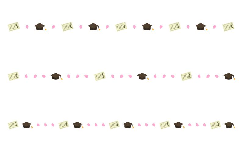卒業証書と桜の罫線イラスト