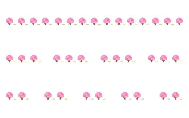 桜の木の罫線イラスト