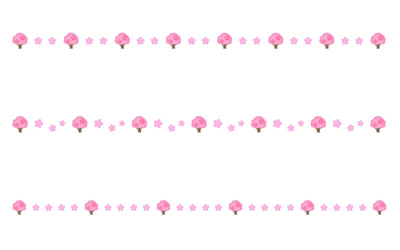 桜の木の罫線イラスト02