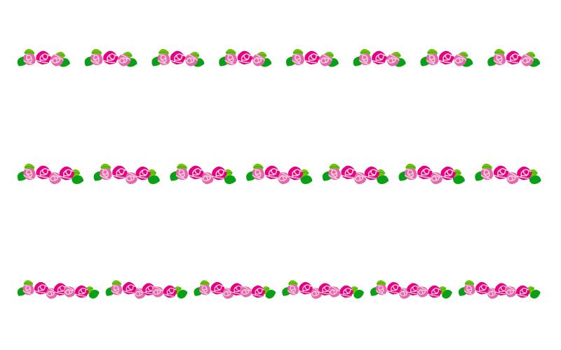バラ(薔薇)の罫線イラスト