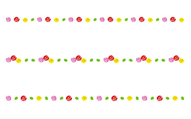 カラフルなバラ(薔薇)の罫線イラスト